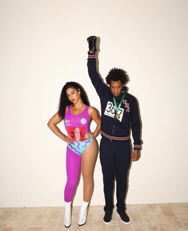 بيونسيه وزوجها في زي الرياضيين الأمريكيين