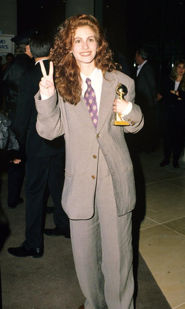 جوليا روبرتس فى حفل توزيع جوائز جولدن جلوب عام 1990