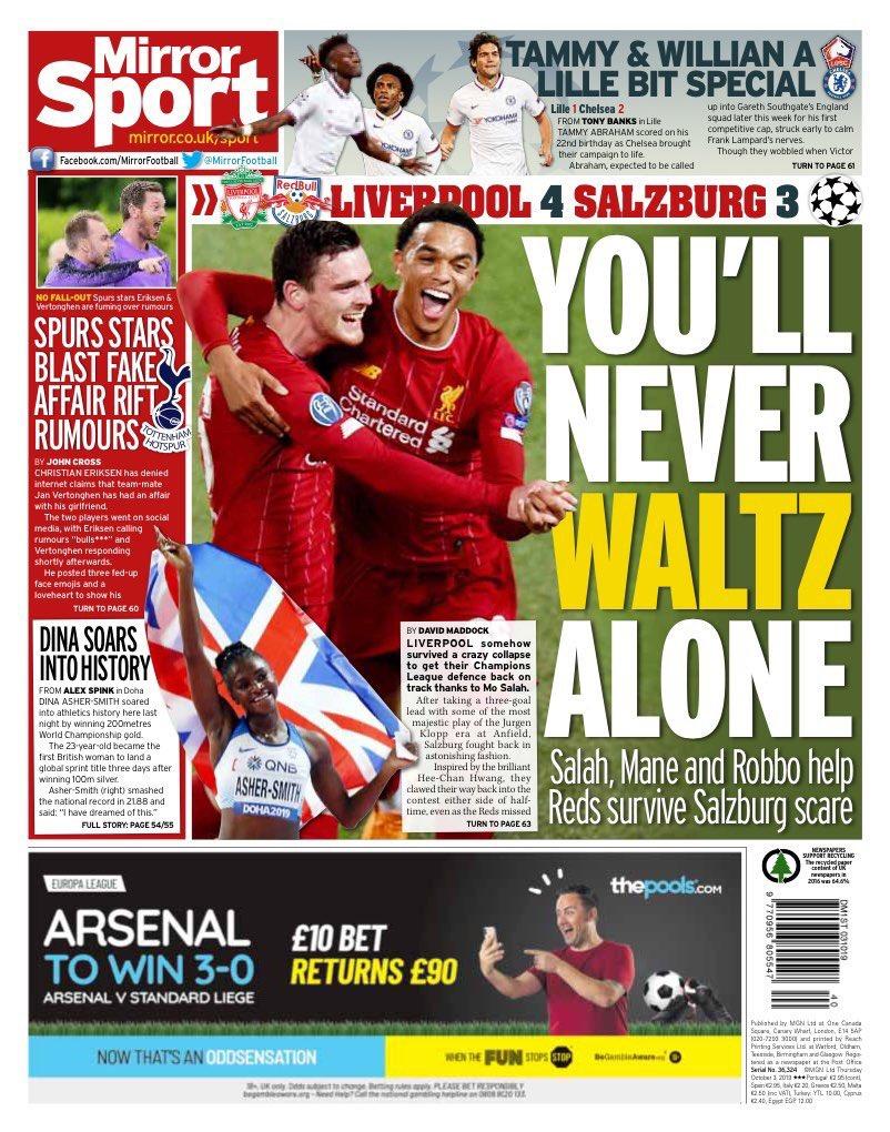 غلاف صحيفة ميرور