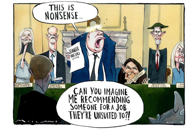 كاريكاتير التايمز يسخر من بوريس جونسون