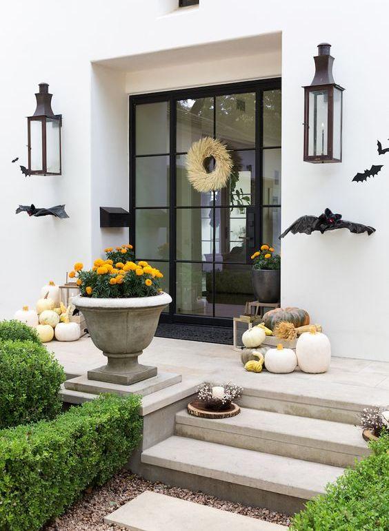 شرفة هالوين مع الخفافيش السوداء