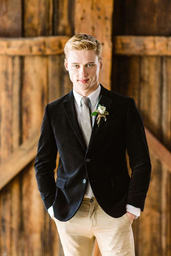 a-fresh-take-on-a-velvet-look-with-a-black-blazer-neutral-pants-a-white-shirt-and-grey-tie-for-a-modern-rustic-wedding