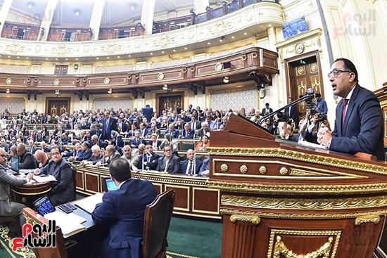 مصطفى مدبولى اثناء القاء بيان الحكومة