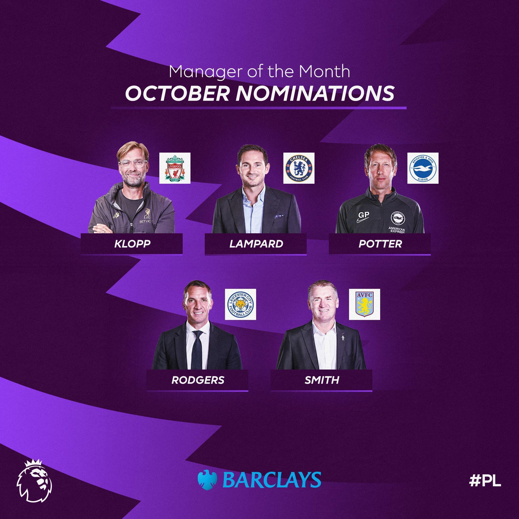 قائمة المرشحين لجائزة مدرب الشهر