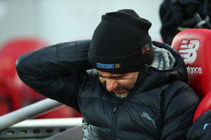 جوارديولا فى مباراة ليفربول