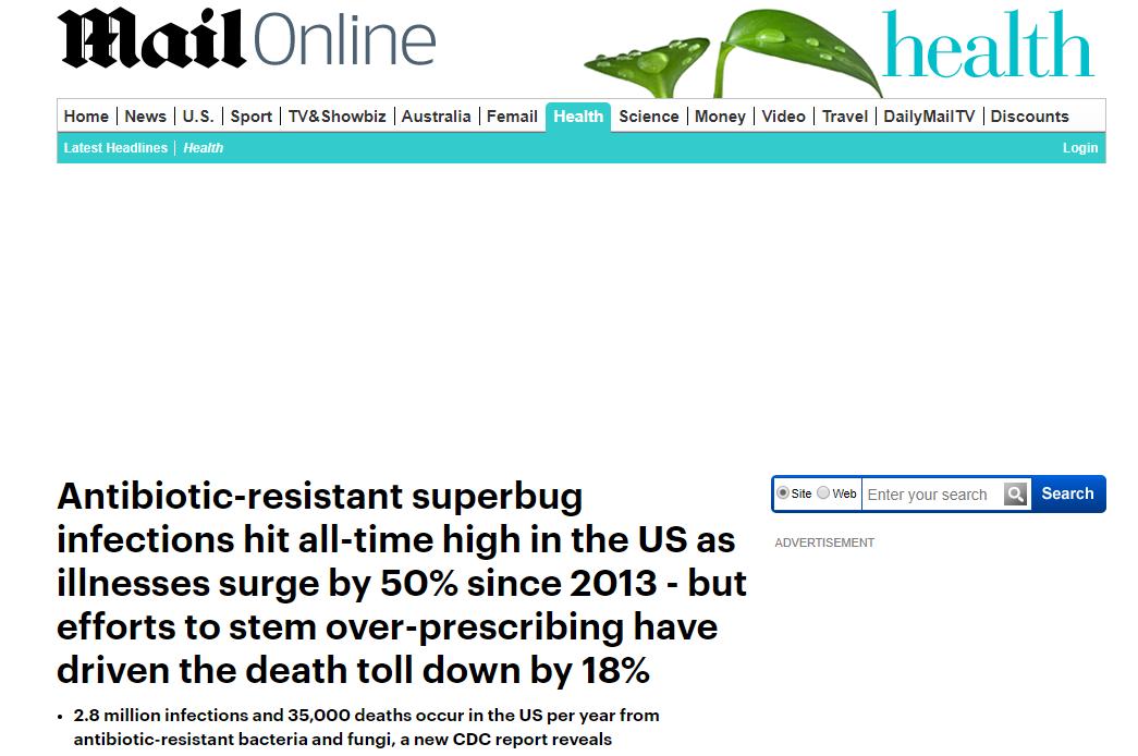 خبر ديلى ميل عن مقاومة المضادات الحيوية