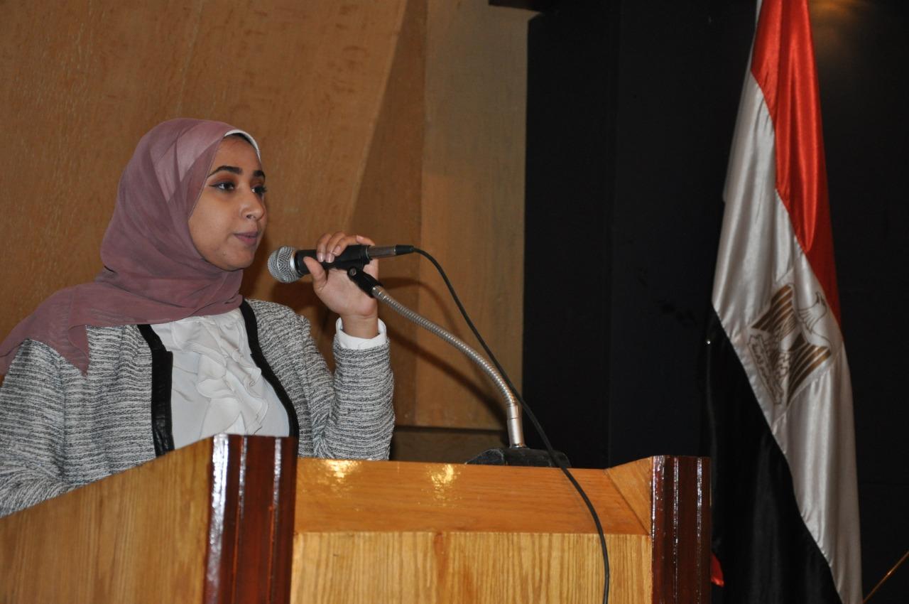 الطالبة نرمين وائل رئيس اتحاد الطلاب بجامعة حلوان