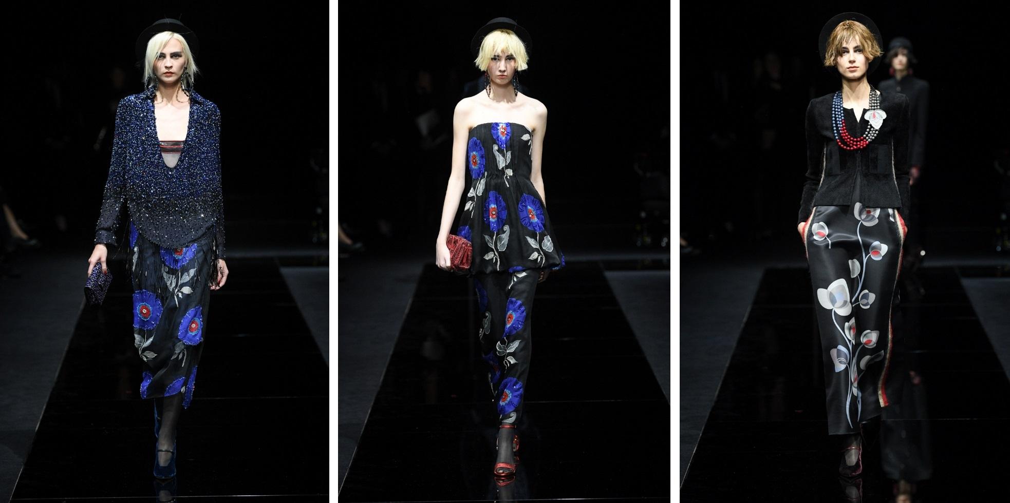 مجموعة أزياء جورجيو أرماني الراقية بنقشات الورود