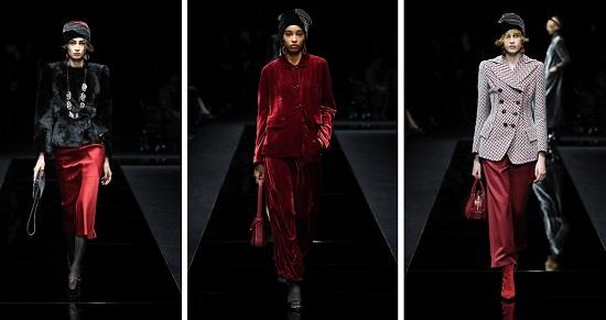 مجموعة أزياء جورجيو أرماني باللون الأحمر