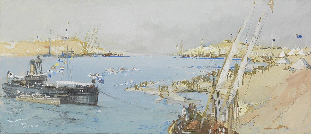 لوحة فنية لمعدية تعبر قناة السويس