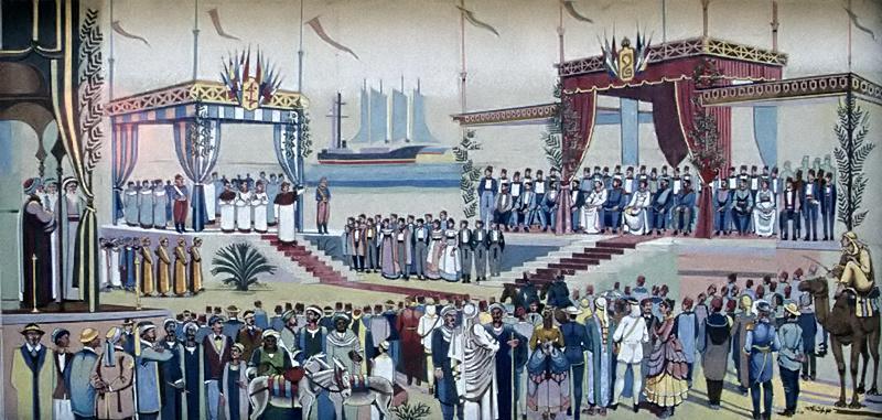 رسم افتتاح قناة السويس الموجود على النصب التذكاري بالإسماعيلية