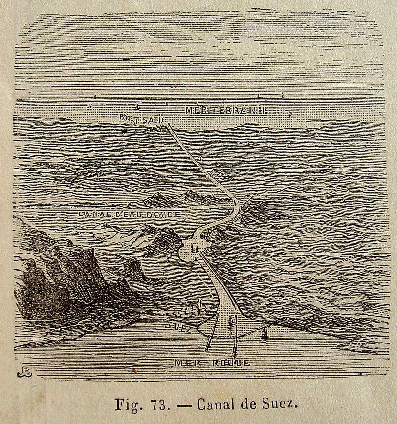 رسم قديم يظهر مسار قناة السويس من جهة السويس