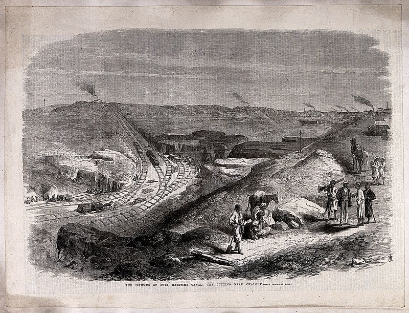 الأعمال الهندسية أثناء حفر قناة السويس