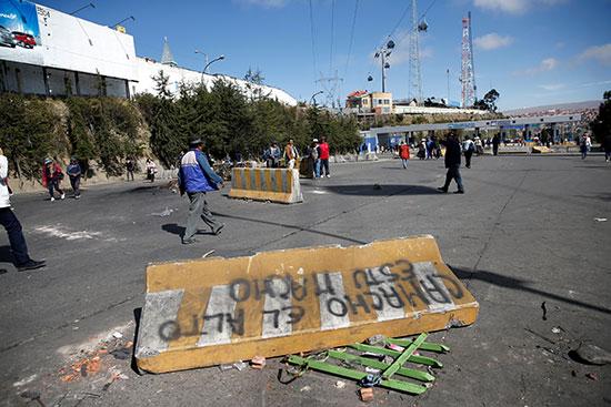 حاجز طريق تركه أنصار الرئيس البوليفي المخلوع إيفو موراليس