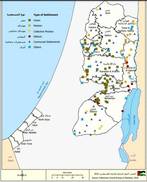 خريطة للمستوطنات