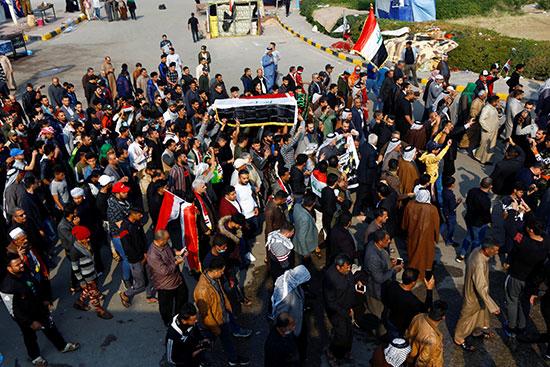 جنازة قتلى مظاهرات أمس بالنجف العراقية
