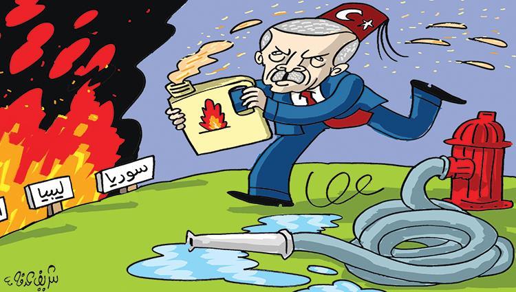 كاريكاتير الصحف الإماراتية.. أردوغان يشعل النيران المنطقة العربية