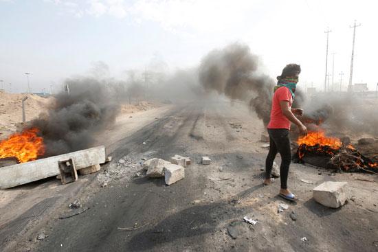 اشعال-النيران-بسبب-المظاهرات