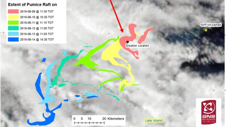رسم بيانى يوضح حركة الحجر الخفافى الناتج عن اندلاع البركان فى أغسطس الماضى