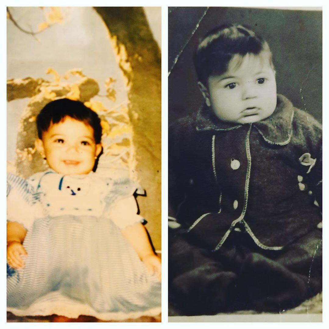 طلعت زكريا وابنته إيمى فى طفولتهما