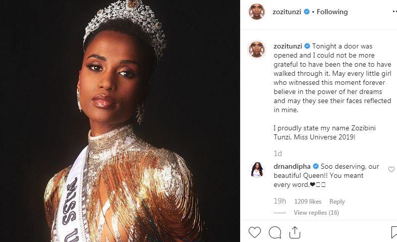 تعليق ملكة جمال الكون