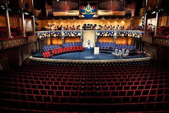 قاعة ستوكهولم للحفلات الموسيقية حيث أقيم حفل توزيع جائزة نوبل