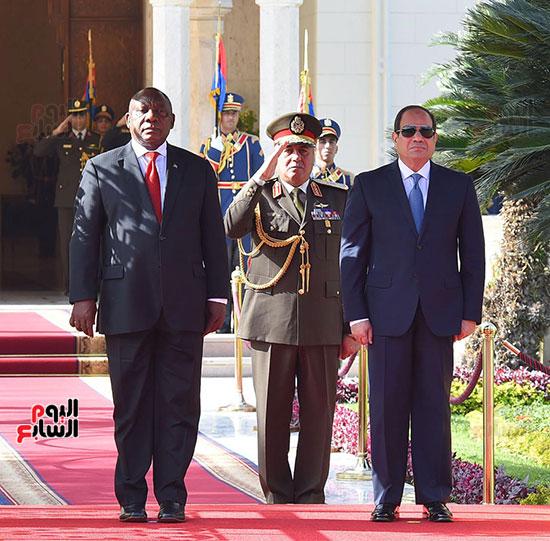 مراسم استقبال رئيس جنوب إفريقيا