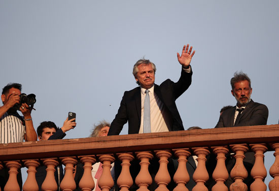Alberto Fernandez at the Presidential Palace