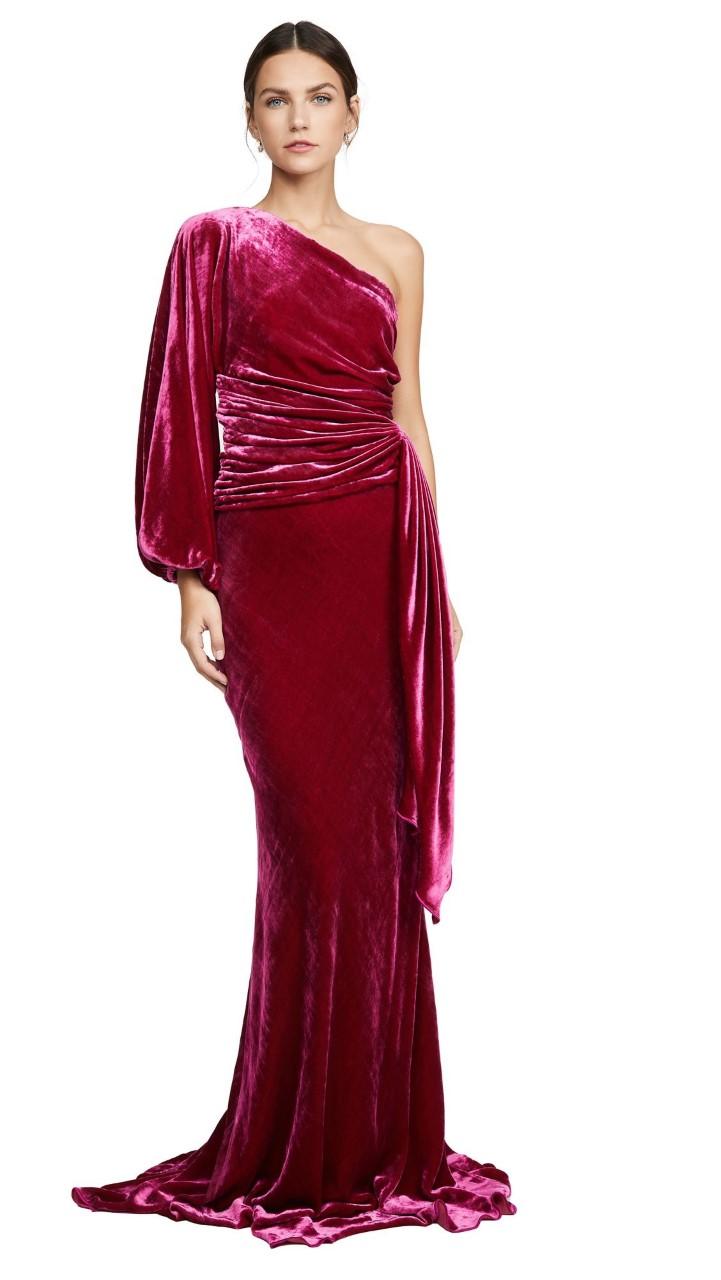 فستان مخملي وان شولدر