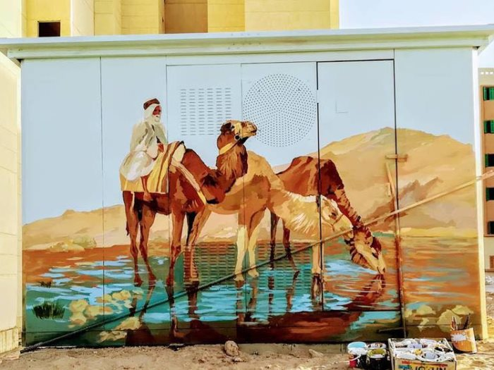 حي السيدة زينب يحول أكشاك الكهرباء للوحات فنية لتجميل الشوارع (4)