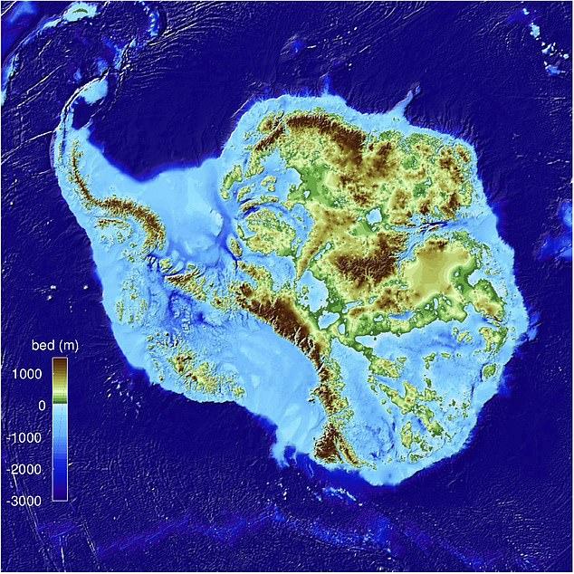 خريطة الارض تحت انتاركتيكا