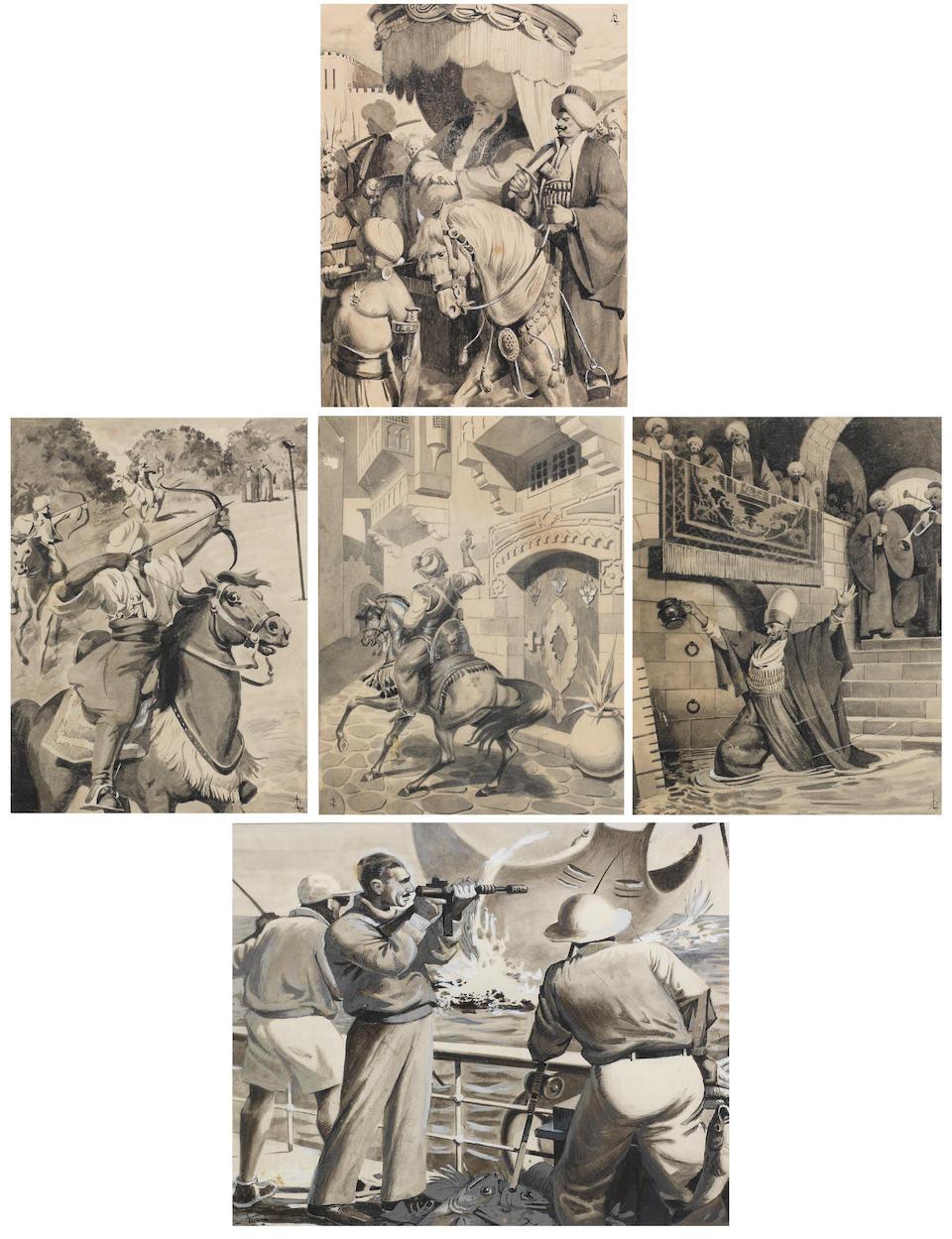 لوحة تصور الرسومات أحادية اللون لحسين بيكار