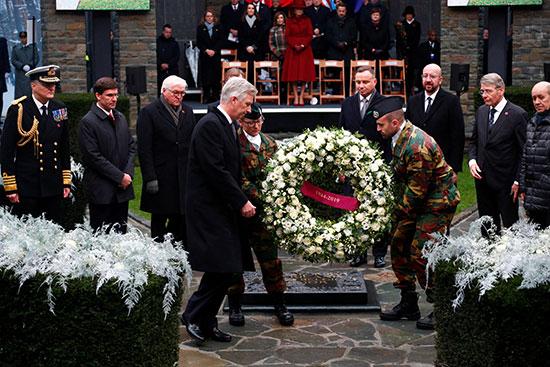 العاهل البلجيكي ورئيس المجلس الأوروبي والرئيس البولندي والرئيس الألماني ووزير الدفاع الأمريكي