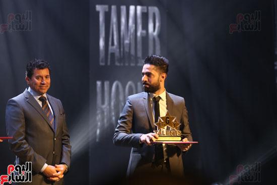 حفل وزارة الشباب لتكريم تامر حسنى بعد دخوله موسوعة جينيس (27)