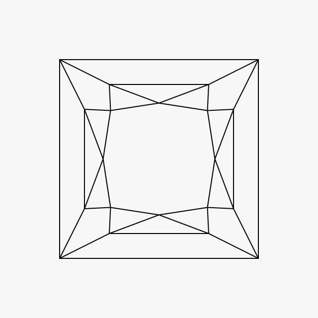 خاتم ماس مقطع على شكل مربع