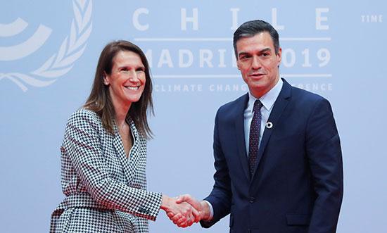 رئيس الوزراء الأسبانة بالنيابة بيدرو سانشيز يرحب برئيسة الوزراء البلجيكى صوفى ويلمز
