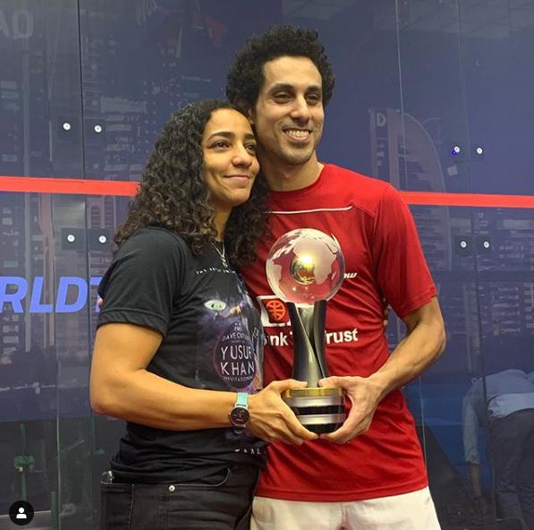 طارق مؤمن بطل العالم مع زوجته رنيم