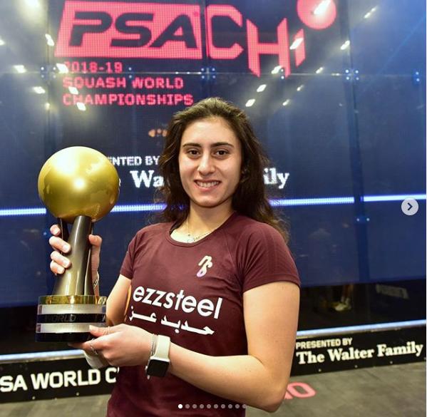 نور الشربيني مع بطولة العالم الثالثة في تاريخها