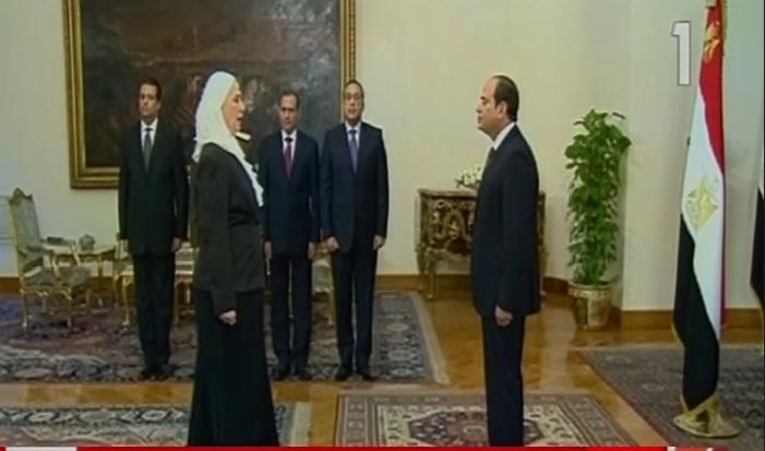 وزيرة التضامن تؤدى اليمين الدستورية أمام الرئيس السيسى