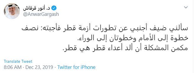 تعليق انور قرقاش على ازمة قطر