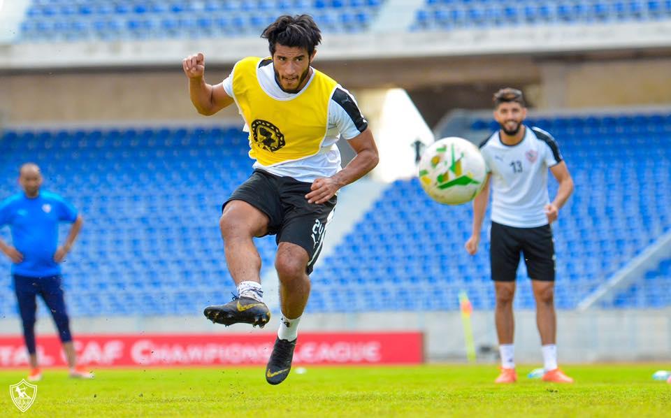 محمد اوناجم في التدريب الاخير للزمالك