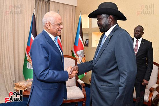 استقبال سلفا كير رئيس جمهورية جنوب السودان للدكتور على عبد العال (10)
