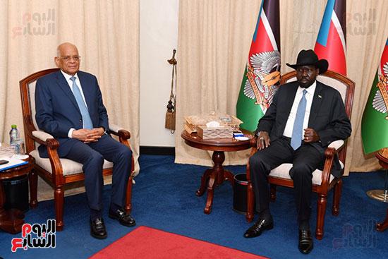استقبال سلفا كير رئيس جمهورية جنوب السودان للدكتور على عبد العال (8)