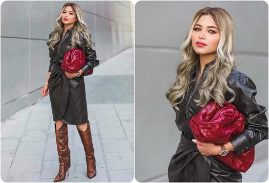 فستان أسود جلد
