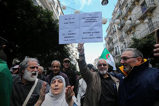 متظاهر يرفع لافتة يطالب بها بدولة مدنية