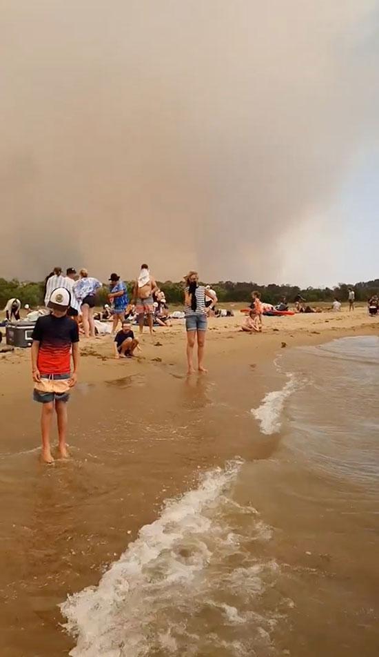 استراليون على الشاطئ هربا من نار الحرائق