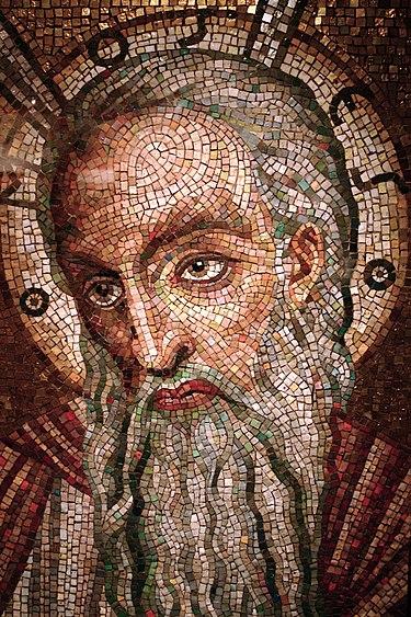 فسيفساء تظهر وجه النبي موسى، في كاتدرائية القديس لويس، ميسوري، الولايات المتحدة.
