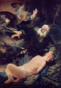 لوحة الملاك يمنع التضحية بإسحاق للرسام الهولندي رامبرانت فان راين