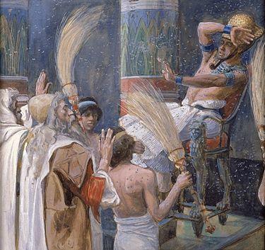 الضربة الرابعة من ضربات مصر، بغزو الذباب قوم فرعون، بريشة جيمس تيسوت، القرن التاسع عشر.
