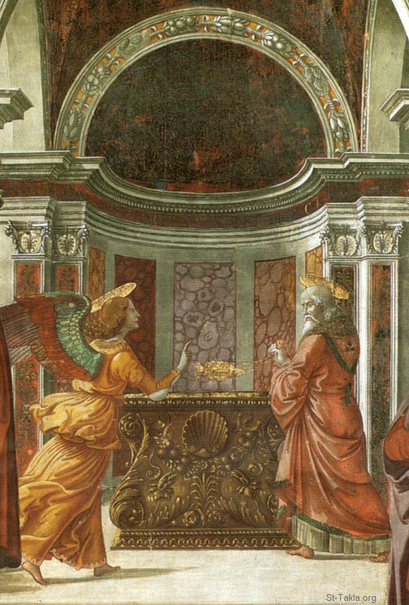 لوحة بشارة الملاك لزكريا، رسم الفنان دومينيكو جيرلاندايو (1449 - 11 يناير 1494) - تاريخ اللوحة (1490)،